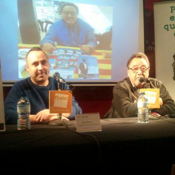 José Rafoso, de MeGustaEscribir (izq.) junto al autor, Eduard Abadía